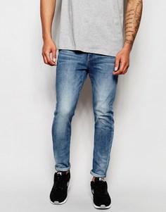 Светлые состаренные суперузкие джинсы стретч G-Star Type C 3D - C легким эффектом состаренности