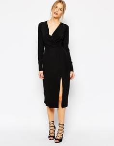 Черное платье с длинными рукавами C/meo Collective Bedroom Wall - Черный