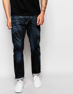 Темные суженные книзу выбеленные джинсы G-Star 3301 - Темный состаренный