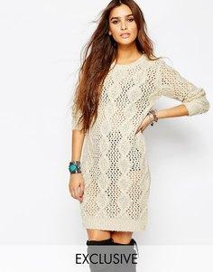 Вязаное платье с узором в косичку Stitch & Pieces - Кремовый