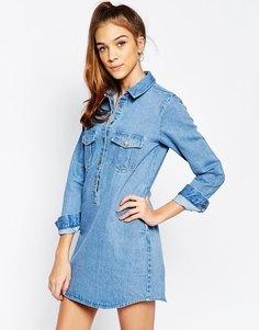 Джинсовое платье‑рубашка с карманами Daisy Street - Indigo - индиго