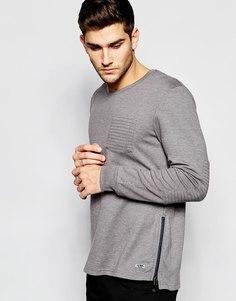 Свитшот с декоративной строчкой на карманах и эполетами Esprit - Серый