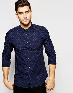 Рубашка со сплошным принтом Sisley - Темно-синий