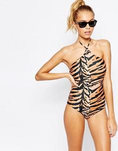 Слитный купальник с высокой горловиной Beach Riot Tigra - Принт тигр