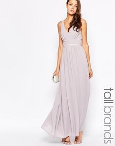 Шифоновое платье макси с V-образным вырезом Jarlo Tall - Серый