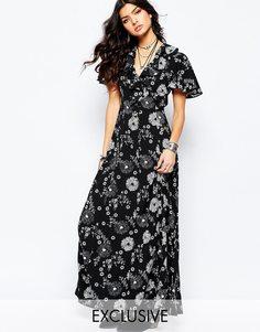Чайное платье макси на пуговицах с рюшами и цветочным принтом Reclaimed Vintage - Черный