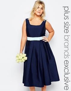 Платье миди для выпускного с круглым вырезом Chi Chi London Plus - Темно-синий