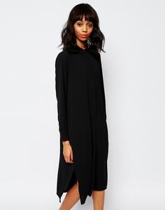 Платье-рубашка с разрезами по бокам Monki - Черный