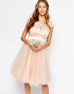 Платье миди с тюлевой юбкой и кружевной спинкой Chi Chi London - Rose cloud