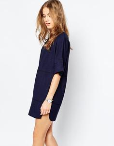 Платье-туника под лен со строчкой ASOS - Темно-синий