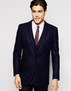 Шерстяной пиджак слим с лацканами без разрезов Hart Hollywood by Nick Hart - Темно-синий