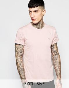 Эксклюзивная футболка слим с логотипом F Farah - Дымчато-розовый