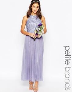 Тюлевое платье макси с высоким воротом и пайетками Maya Petite - Фиолетовый