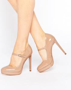 Телесные лакированные туфли с круглым носком и ремешком Faith Chrissie - Телесный
