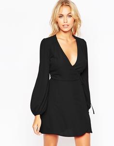 Платье мини с запахом и пышными рукавами на манжетах ASOS - Черный