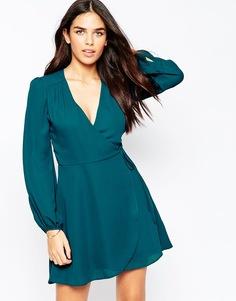 Платье мини с запахом и пышными рукавами на манжетах ASOS - Сине-зеленый