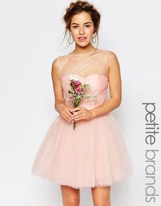 Свадебное платье миди из тюля Chi Chi London Petite - Телесный