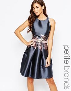 Платье для выпускного с принтом на талии Little Mistress Petite - Серый