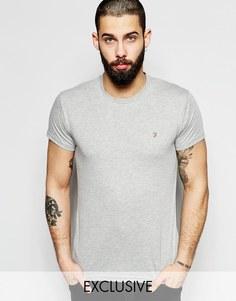 Эксклюзивная футболка слим с логотипом F Farah - Серый меланж