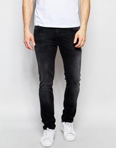 Черные выбеленные джинсы слим Nudie Jeans Thin Finn - Black brutus