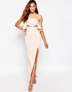 Платье-бандо макси с рюшами ASOS Premium - Телесный