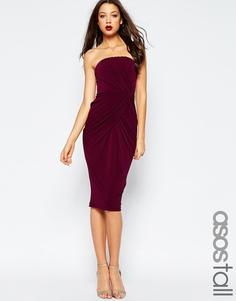 Платье миди с лифом-бандо и перекрученной драпировкой ASOS TALL - Сливовый