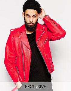 Байкерская кожаная куртка Reclaimed Vintage - Красный