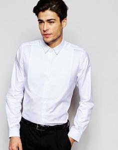 Рубашка слим с заостренным воротником и вставкой на груди Hart Hollywood by Nick Hart - Белый