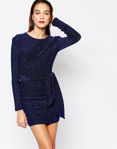 Платье мини с блестками Bec & Bridge Sultry Seas - Синий блестящий