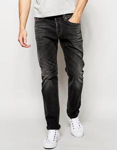 Эластичные выбеленные джинсы слим черного цвета Diesel Buster 669F - Выбеленный черный