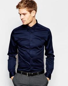Рубашка зауженного кроя с воротником на пуговицах Selected Homme - Темно-синий