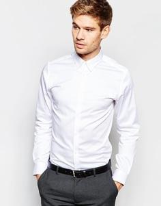 Рубашка зауженного кроя с воротником на пуговицах Selected Homme - Белый