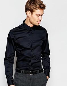 Рубашка зауженного кроя с воротником на пуговицах Selected Homme - Черный