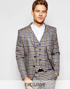 Приталенный пиджак в клеточку Selected Homme Exclusive Heritage - Коричневый