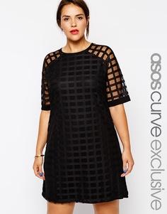 Цельнокройное платье с решетчатой сеточкой эксклюзивно для ASOS CURVE - Черный