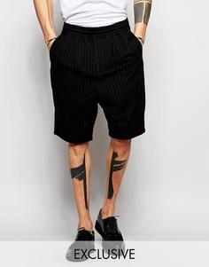 Шерстяные шорты в тонкую полоску Black Eye Rags - Черный