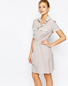 Строгое платье-рубашка с пуговицами Closet - Телесный