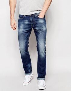 Узкие эластичные джинсы с потертостями Diesel Thavar 848C - Светлый