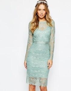 Свадебное платье мятного цвета с отделкой на поясе Body Frock - Мятный