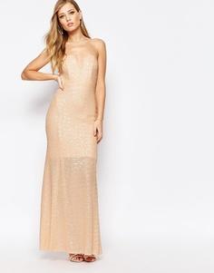 Расшитое пайетками платье макси TFNC Showstopper - Телесный