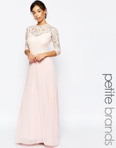 Платье макси с рукавами 3/4 и кружевным топом John Zack Petite - Розовый