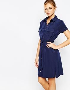 Строгое платье-рубашка с пуговицами Closet - Темно-синий
