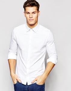 Белая трикотажная рубашка зауженного кроя Tommy Hilfiger - Белый