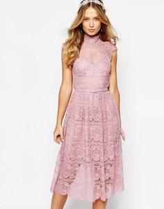 Кружевное платье с цветочным узором Body Frock Wedding - Дымчатая роза