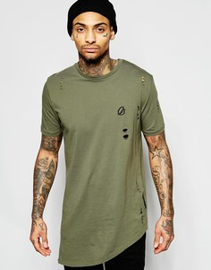 Ассиметричная футболка с молнией и прорехами Criminal Damage - Оливковый