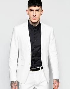 Зауженный пиджак стретч в елочку Devil's Advocate - Белый