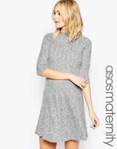 Свободное платье в рубчик для беременных с воротником поло ASOS Maternity - Мульти