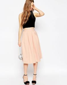 Неопреновая юбка миди со складками ASOS - Телесный