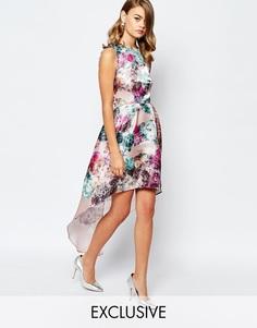Асимметричное блестящее платье для выпускного True Violet - Многоцветный цветочный