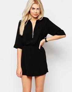 Платье-рубашка с молнией спереди Monki - Черный